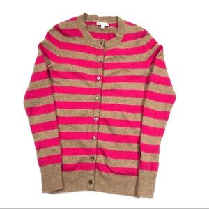 GAP Cozy Pink Brown Striped Cardigan Size Small